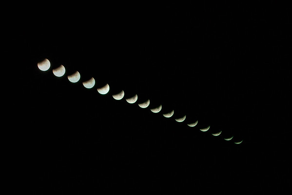 Composite of lunar eclipse from Ouse Fen RSPB reserve, Over, Cambridgeshire