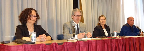 MARY MARKOS/Staff photo<br /> The candidates seeking two Rockport selectman seats debated Thursday night. They are, from left, Denise Donnelly, incumbents Paul Murphy and Erin Battistelli, and Michael Polisson. The election is May 2.