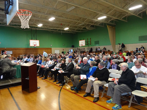 MARY MARKOS/Staff writer<br /> About 250 voters where in attendance at Manchester Town Meeting on Monday evening.