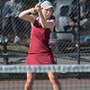 MIKE SPRINGER/Staff photo<br /> Gloucester's Lexi Zubricki competes against a Saugus opponent during a varsity tennis match Monday in Gloucester.<br /> 4/23/2018