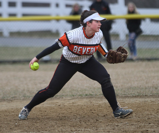 MIKE SPRINGER/Staff photo<br /> Beverly shortstop Julia Pitman throws the ball to second base during varsity softball action Saturday at Essex Tech.<br /> 4/14/2018