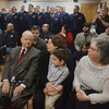 MIKE SPRINGER/Staff photo<br /> Ninety-three-year-old Robert Henry Leet of Ipswich and members of his family attend a ceremony in his honor Friday at Coast Guard Station Gloucester. From left are Leet, his daughter Cindy Whittle of York, Maine, his great grandson Joey Corso, 3, of Danvers, and his daughter Bonnie McGarrell of Danvers.<br /> 4/20/2018