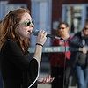 MIKE SPRINGER/Staff photo<br /> Rhiannon Hurst sings with the Jazz Ensemble I during the Rockport Public Schools' First Night celebration Thursday evening in downtown Rockport. The event included performances and demonstrations of student projects in various school departments.<br /> 4/26/2018