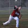 MIKE SPRINGER/Staff photo<br /> Gloucester's Jake Lucido pitches against an Everett batter during varsity baseball action Wednesday in Gloucester.<br /> 4/11/2018