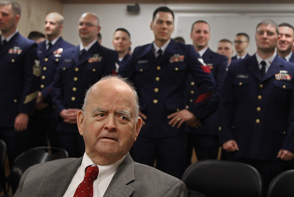MIKE SPRINGER/Staff photo<br /> Robert Henry Leet, 93, of Ipswich attends a ceremony in his honor Friday at U.S. Coast Guard Station Gloucester. Leet was awarded the World War II Victory Medal and the American Campaign Medal for his service in the Coast Guard Auxiiary during World War II.<br /> 4/20/2018