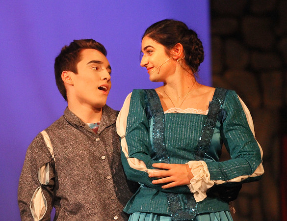 """MIKE SPRINGER/Staff photo<br /> Benjamin Callahan plays Sir Harry and Emily Frick plays Lady Larken during a rehearsal Monday for the musical """"Once Upon a Mattress"""" at Gloucester High School.<br /> 4/2/2018"""