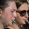 MIKE SPRINGER/Staff photo<br /> Samantha Budrow, left, and Lucy Twombly play trumpet with the Jazz Ensemble I during the Rockport Public Schools' First Night celebration Thursday evening in downtown Rockport. The event included performances and demonstrations of student projects in various school departments.<br /> 4/26/2018