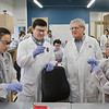 MIKE SPRINGER/Staff photo<br /> From left, Rockport High School sophomore Alexa Kamm, Gloucester Biotechnology Academy education director John Doyle, instructor Joe Rosa and Rockport High School sophomore Amanda Verga confer over the progress of a lab procedure Thursday during the academy's vacation-week program for area high school students.<br /> 4/19/2018