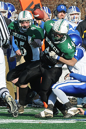 Manchester: M/E Jack Bishop breaks up the middle during the Thanksgiving Day Football game against Georgetown at Ed Field Field Thursday morning. Photo by Desi Smith/Gloucester Daily Times Thursday, November 27, 2008