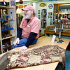 Gloucester: Ed Soucy, artist and owner of the Menage Gallery on Main Street, has created more small pieces due to the economy, but says business has been ok overall. Photo by Kate Glass/Gloucester Daily Times Wednesday, December 17, 2008