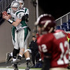 Duxbury's Shane DiBona (5) and Ian Whitney celebrate a touchdown as Gloucester's Taylor Burbine walks off the field during the Division 2A Super Bowl at Gillette Stadium on Saturday. The Fishermen lost 46-26. Photo by Kate Glass/Gloucester Daily Times Saturday, December 6, 2008