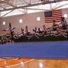 Woburn: Gloucester High School Cheerleaders compete in the North Regionals at Woburn High School on Sunday. The Fishermen won first place in the coed division. <br /> Photo by Kate Glass/Gloucester Daily Times Sunday, November 16, 2008