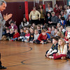 "Rockport: Charles Fernandes, a representative of General Mills, announces that Rockport Elementary School is the winner of the ""Shaw's Back to School Bonus Box Tops Challenge"" during a school assembly yesterday. For their efforts, the school received $50,000 to be used toward improving school activities, facilities, and computer technology advancements. Photo by Kate Glass/Gloucester Daily Times Tuesday, November 18, 2008"
