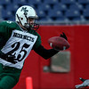 Manchester Essex's Doug Kenerson catches a touchdown pass from Pat Orlando during their Super Bowl game against Tri-County at Gillette Stadium on Saturday. Photo by Kate Glass/Gloucester Daily Times Saturday, December 6, 2008