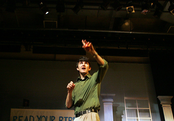 """Rockport: Rockport senior Ben Patey plays E.K. Hornbeck while rehearsing a scene from """"The Inherit the Wind"""" at Rockport High School Wednesday night.  The play runs tonight and tomorrow night at 7:30 in the John E. Lane Auditorium at Rockport High School. Mary Muckenhoupt/Gloucester Daily Times"""