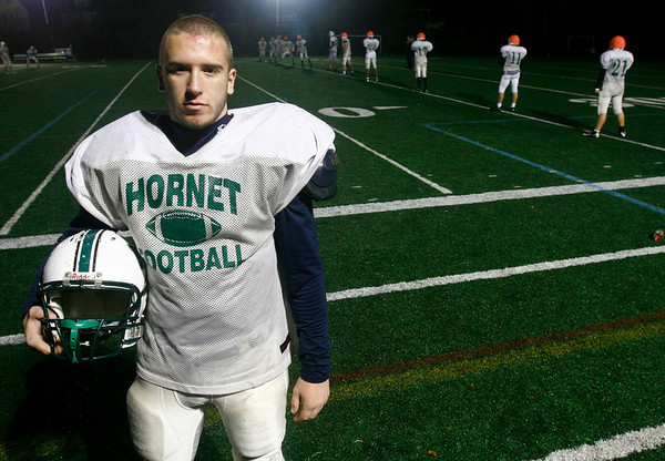 Manchester: Manchester Essex senior captain and linebacker Max Quirk suffered a collapsed lung earlier in the season and missed just a few games, but has returned to help carry the Hornets back to the playoffs. Photo by Kate Glass/Gloucester Daily Times Thursday, November 13, 2008