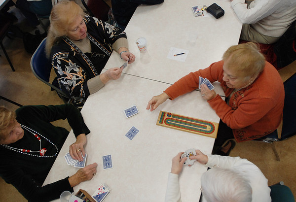 Gloucester: Clockwise, Phyllis Malone, Mary Giglio, Carmella Scola and Adriana Aiello play Cribbage at Rose Baker Senior Center Tuesday afternoon. Staff photo/The Gloucester Times. December 9, 2008