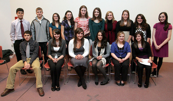 Gloucester: Recipients of the Sawyer Medals from left, front row, Brett Davis, Melissa Aptt, Alea Capello, Emily Doucette, Katy Geraghty and Kiley Aiello.  Back row, from left, Matt Catarino, Nick Buck, Christina Fonte, Paige Stockman, Elizabeth MacDougal, Maryka Gillis, Sarah Zuidema, Laura Spilman, Katina Tibbetts and Marissa O'Brien.