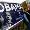 "Gloucester: Debbie and Paul Frontierro, who have one of the largest campaign signs in the area outside their home on Washington Street in Gloucester, said they will leave their sign up for a couple days to celebrate Obama's victory. Debbie says he is ""redefining America as a more univied, more diferse nation with common values among it's people,"" adding that it was great seeing a candidate who got young people so excited and involved with the election. Photo by Kate Glass/Gloucester Daily Times Wednesday, November 5, 2008"