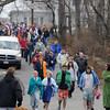 Gloucester: Thanksgiving Day swimmers make their way down Cedar Lane to Gilson Way for their annual Thanksgiving Day Swim. 52 swimmers partisapated. Photo by Desi Smith/Gloucester Daily Times Thursday, November 27, 2008