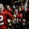 Members of the Gloucester football team celebrate their 26-7 victory over Masconomet in last night's Division 2A playoff at Manning Field in Lynn. The fishermen will play in their second straight Super Bowl at Gillette Stadium on Saturday. Photo by Kate Glass/Gloucester Daily Times Tuesday, December 2, 2008