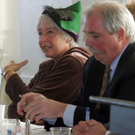Gloucester: Barbara Anderson with Citizens for Limited Taxation debates with Andrew Bagley of the Mass Tax Payers Foundation on Question 1, the income tax repeal, at the Elks Club Friday morning. Mary Muckenhoupt/Gloucester Daily Times