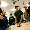 Rockport: Chris Fisher, center, helps construct one of five picnic tables he is creating for the town of Rockport as part of his Eagle Scout project. Also helping are (from left): Nick Favaloro, Quenton Hurst, Selectman Armand Aparo, and Jeff Hildonan. Photo by Kate Glass/Gloucester Daily Times Sunday, December 28, 2008