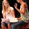 Gloucester: Sarah Keenan, left, 13, of Rockport acts out a scene with Caroline Zola, 13 of Rockport at the Gloucester Stage Company on the last day of the Youth Acting Workshop Friday afternoon. Director and teacher Heidi Dallin taught Intro to Acting and Theater for kids age 6-17 from June 27 to August 15.   Photo by Emily Grund/Gloucester Daily Times Friday August 15, 2008