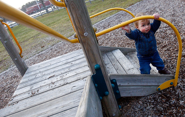 "Manchester: Milo Zeltzer, 17 months, takes advantage of the warm weather on Monday and runs around the ""big kids playground"" at Masconomo Park. Photo by Kate Glass/Gloucester Daily Times Monday, December 15, 2008"
