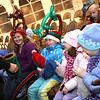 Rockport: From left: Madison Fleenor, Mackenzie Hooker, Mikaela Fleenor, and Molly Megan giggle as magician Eddie Gardner tries to tell them that their scarves are a different color during Rockport's New Year's Eve festivities last night. Many people braved the storm to join in the celebration. Photo by Kate Glass/Gloucester Daily Times Wednesday, December 31, 2008