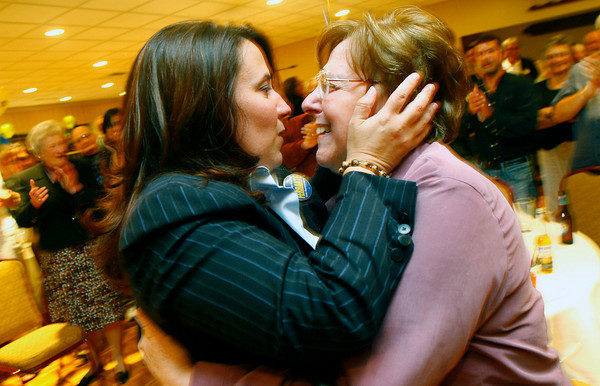 Gloucester: Anne-Margaret Ferrante embraces her mother, Frances Ferrante, after the votes indicate she won the election for 5th Essex District State Representative.<br /> Photo by Katie McMahon/Gloucester Daily Times Tuesday, September 16, 2008<br /> , Gloucester: Anne-Margaret Ferrante embraces her mother, Frances Ferrante, after the votes indicate she won the election for 5th Essex District State Representative.<br /> Photo by Katie McMahon/Gloucester Daily Times Tuesday, September 16, 2008
