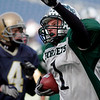 Manchester Essex's Ben Kekeisen celebrates a touchdown during their Super Bowl game against the Tri-County Cougars at Gillette Stadium on Saturday. Photo by Kate Glass/Gloucester Daily Times Saturday, December 6, 2008