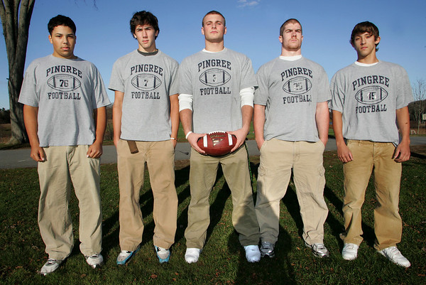 Gloucester: From left Jonathan Fonvielle, Anthony Sardo, Derek Pratt, Patrick George and Joe Harmon are all Gloucester resident who play football for Pingree High School.  Mary Muckenhoupt/Gloucester Daily Times.