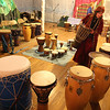 Rockport: Lisa Bouchie sets up drums for a drum circle during the New Year's Rockport Eve celebration last week. Attendance was down due to the weather, preventing the event from meeting their budget requirements. They are now seeking donations to keep the event running. Photo by Kate Glass/Gloucester Daily Times Wednesday, December 31, 2008