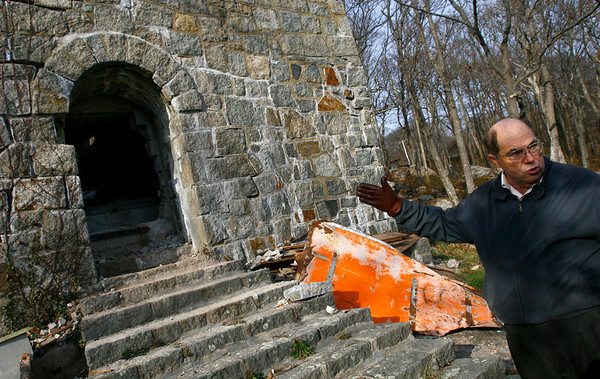 Gloucester: Craig Lentz, President of Hammond Museum, Inc., shows the mausoleum where John Hays Hammond Jr. was buried in 1965. Yesterday, his body was moved to a courtyard just outside the museum. Photo by Kate Glass/Gloucester Daily Times Monday, November 24, 2008