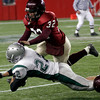 Gloucester's Conor Ressel leaps to tackle Duxbury's Steve Ripley during the Division 2A Super Bowl at Gillette Stadium on Saturday. The Fishermen lost 46-26. Photo by Kate Glass/Gloucester Daily Times Saturday, December 6, 2008