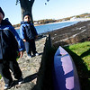 Gloucester: Colby Rochford, 2, and his twin brother, Bryce, keep warm in their winter coats and hats as they climb a stone wall near Magnolia Harbor yesterday morning. Photo by Kate Glass/Gloucester Daily Times Thursday, October 30, 2008