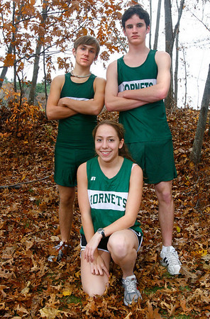 Manchester: Manchester Essex runners Ben Girard, Eric Kimball, and Caroline Martin will be competing in the state cross country meet at Franklin Park in Boston on Saturday.  Photo by Kate Glass/Gloucester Daily Times Thursday, November 13, 2008