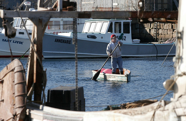 Rockport: Jimmy Fritz of Rockport paddles back to shore at Pigeon Cove after a day at sea. Photo by Kate Glass/Gloucester Daily Times Monday, December 29, 2008