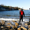 Gloucester: Cody Shaw, 13, of Gloucester talks with his father, Eric Shaw, as the two attempt to scuba dive at Folly Cove on Monday. Cody was too buoyant despite extra weights he wore to dive. Photo by Kate Glass/Gloucester Daily Times Monday, December 29, 2008