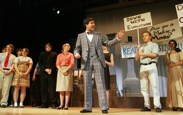"""Rockport: Rockport senior Ian Sonia plays Matthew Harrison Brady during a dress rehearsal for """"Inherit the Wind"""" at the John E. Lane Auditorium at Rockport High School Wednesday night. """"Inherit the Wind"""" plays tonight and tomorrow night at 7:30 p.m. at Rockport High School. Mary Muckenhoupt/Gloucester Daily Times"""