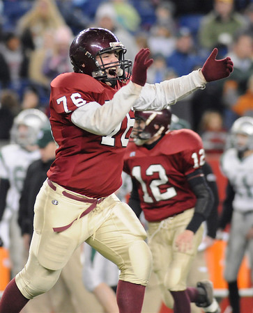 Gloucester's Salvatore Favaloro celebrates after Gloucester recovers a fumble by Duxbury in the second half at Gillete Stadium in Foxboro Mass Saturday night Descember 6,2008.