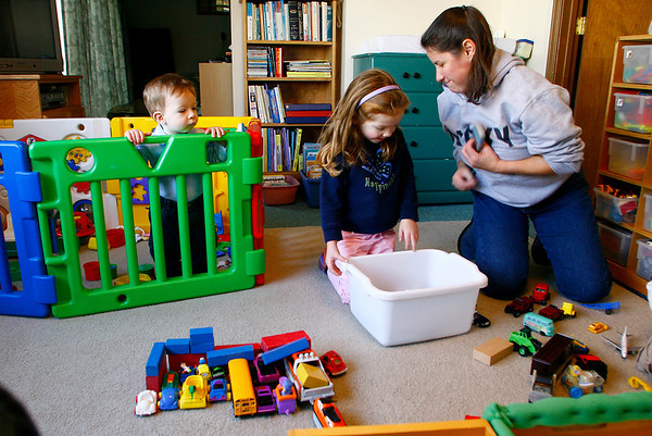 Rockport: Sharon Grandmaison, who has been running a daycare out of her Rockport apartment for several years, has just been notified that her landlord is ending the lase for all tennents in the building. Grandmaison, shown here with Cole Costa, left, and Kelsea Anderson, is having a difficult time finding a new place for her business. Photo by Kate Glass/Gloucester Daily Times Tuesday, November 11, 2008