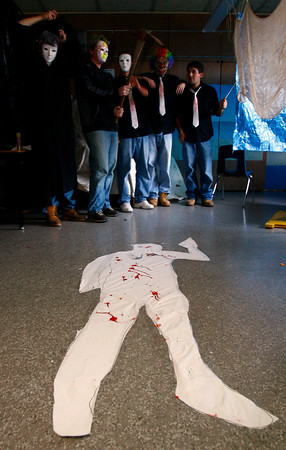 """Manchester: Sean Golden, Erik Ferm, Zeke Gillette, Kyle Donovan, and Nick Pellegrini work on their room for Manchester Essex's """"Haunted Hallways"""" on Wednesday. This year was the last year for the event since students are expected to be in the new building next year. Photo by Kate Glass/Gloucester Daily Times Wednesday, October 29, 2008"""