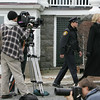 "Rockport: Tracey Needham, best known for her roles in ""Life Goes On"" and ""Jag"", films a scene on the set of ""Hatteras Hotel"" with actor Brendan Bradley at the Emerson Inn Thursday afternoon. Mary Mucenhoupt/Gloucester Daily Times"