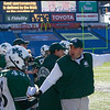 Manchester Essex head coach Mike Athanas gives instructions to Stephen LaForge during their Super Bowl game against the Tri-County Cougars at Gillette Stadium on Saturday. Photo by Kate Glass/Gloucester Daily Times Saturday, December 6, 2008