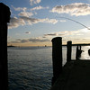 Gloucester: Salvatore Russo of Gloucester fishes behind Cape Pond Ice on Tuesday afternoon. Russo caught a mackerel, but says the fish haven't been biting lately. Photo by Kate Glass/Gloucester Daily Times Tuesday, November 18, 2008