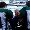 Bob Kraft, owner of the New England Patriots, presents the Division 4 Super Bowl trophy to Manchester Essex following their 36-6 victory over Tri-County at Gillette Stadium on Saturday. Photo by Kate Glass/Gloucester Daily Times Saturday, December 8, 2008