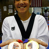 Gloucester: Andie-Jane Phinney, 13, recently took home a gold and bronze medal from a national taekwondo competition in Detroit. Phinney studies under Master Demetris at Demetris Taekwondo in Gloucester. Photo by Katie McMahon/Gloucester Daily Times Wednesday, July 9, 2008