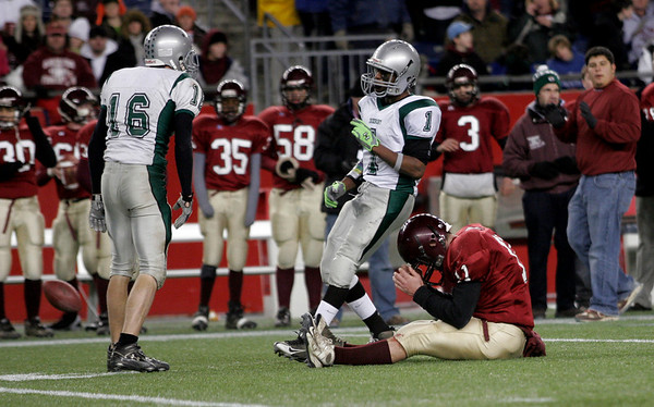 Gloucester's Dylan Maki shows frustration after missing a pass from Rick Gallant during their Division 2A Super Bowl game against Duxbury at Gillette Stadium on Saturday. The Fishermen lost 46-26. Photo by Kate Glass/Gloucester Daily Times Saturday, December 6, 2008